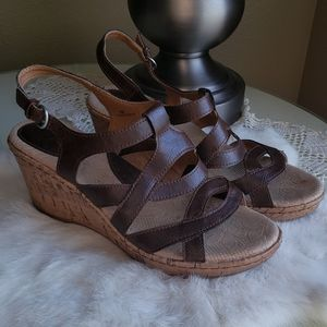 BOC Brown Strappy Cork Wedge Sandals-Size 8